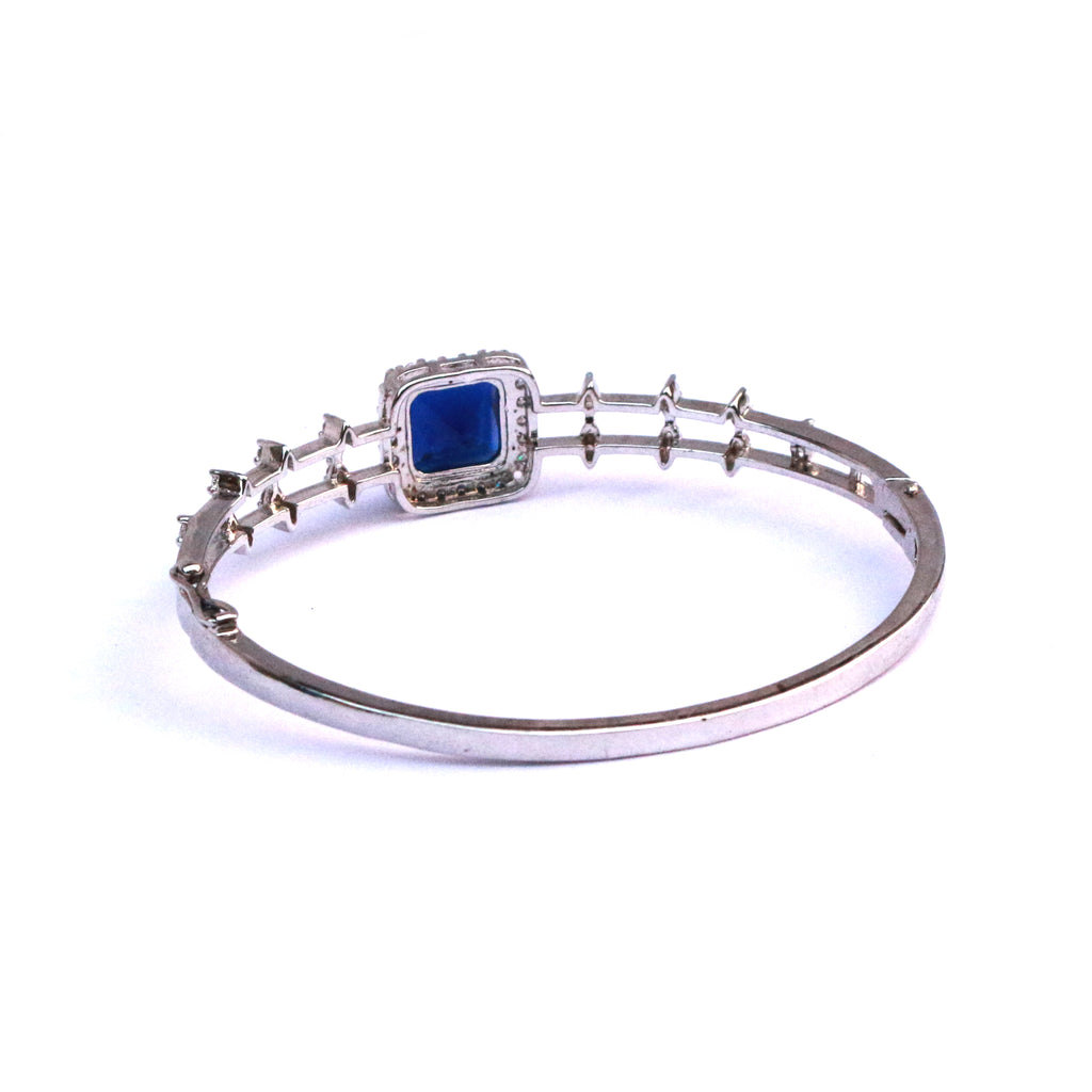 Midnight Blue Cubic Zirconia Silver Bracelet Bangle - Boldiful