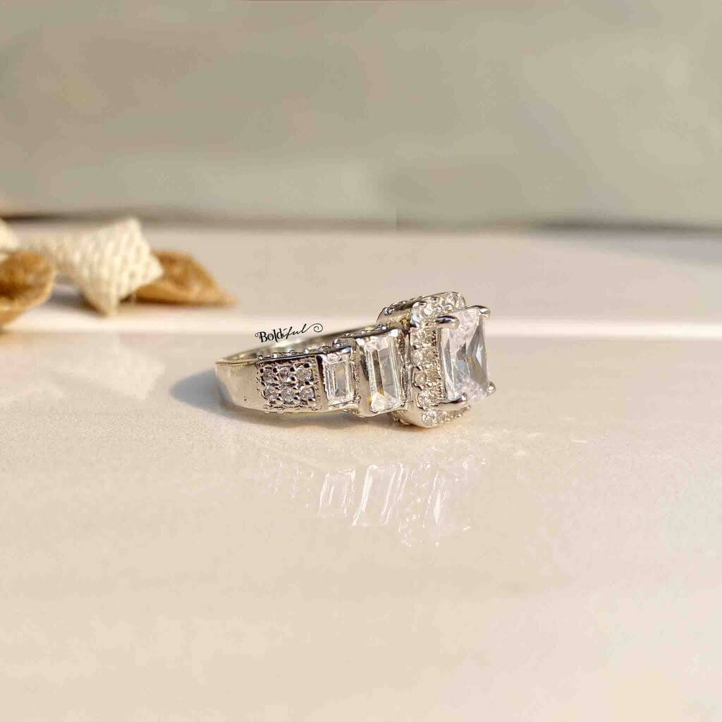 Oblique Emerald Cut Silver Ring