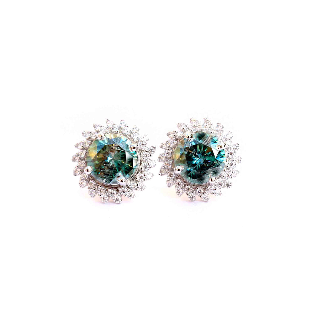 Océane Blue Moissanite Stud Earrings - Boldiful