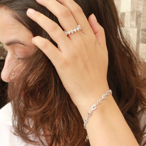 Sleek Pear Trinket Sterling Silver Bracelet for the perfect sparkle throughout the day