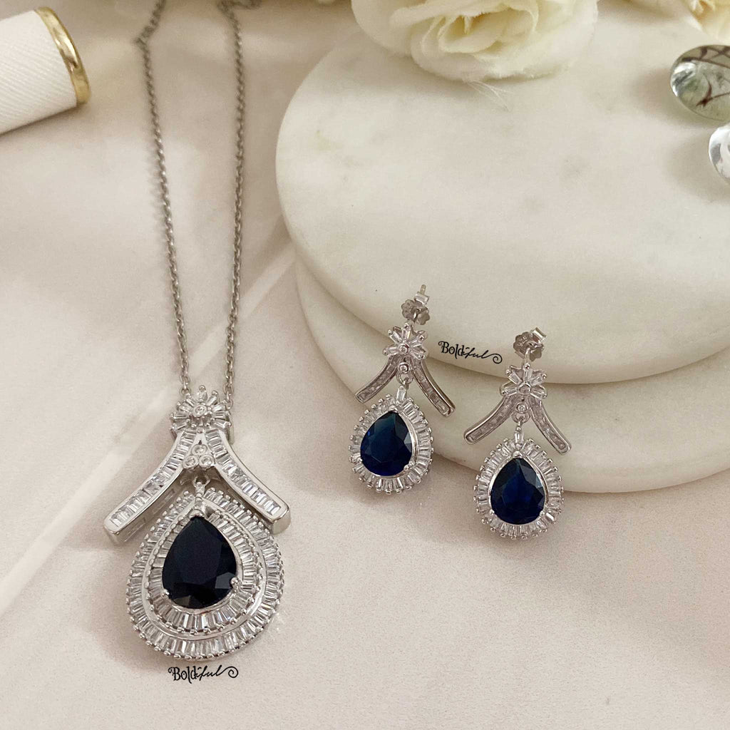 Pear Cut Bluestone Silver Pendant set