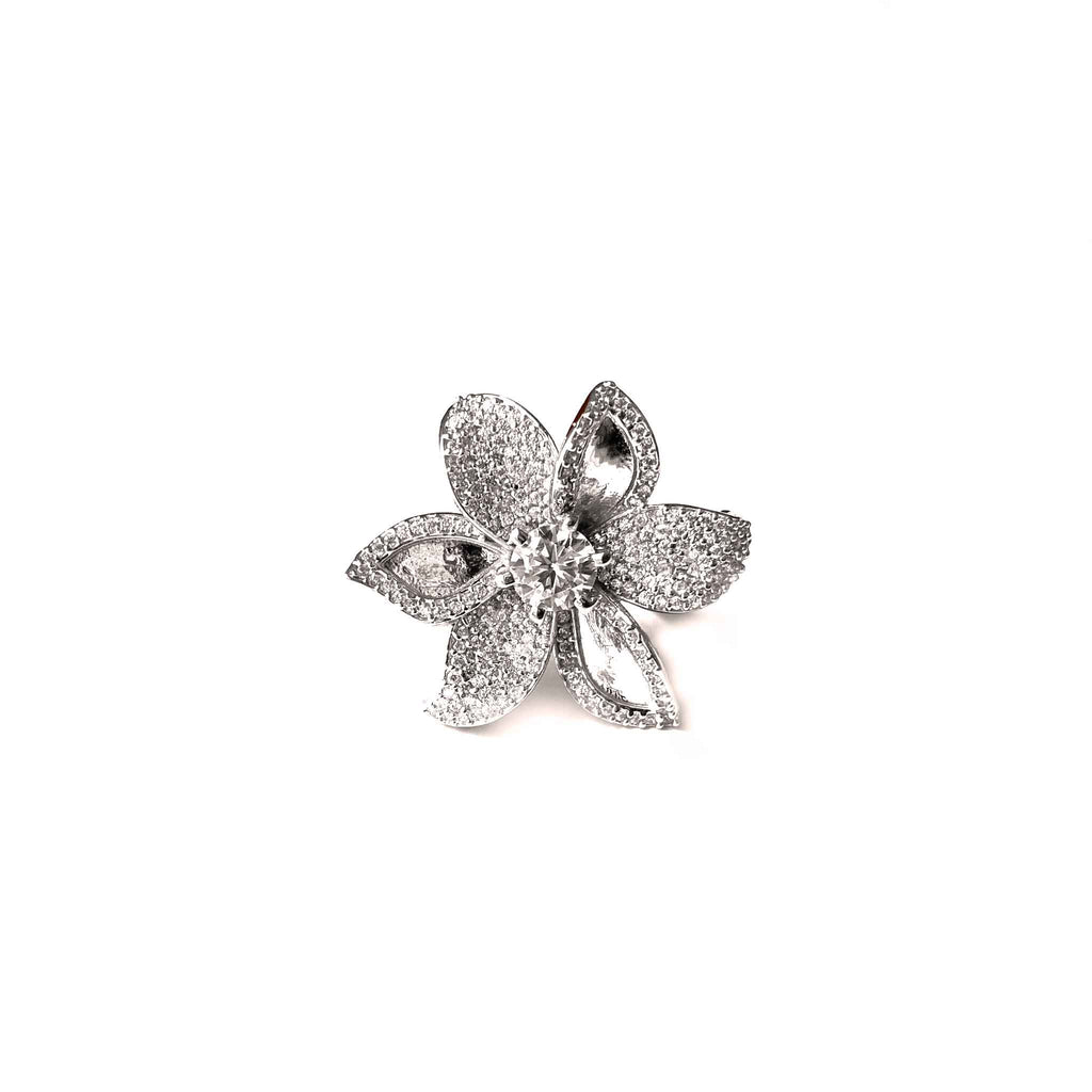 Plumeria Flower Cocktail Ring
