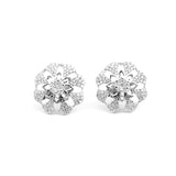 Poppy Swarovski Big Silver Stud Earrings