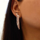 Pulse Silver Danglers in Rose Gold Plating - Boldiful