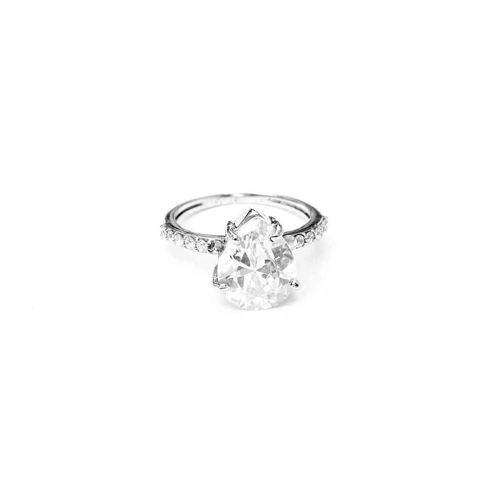 Radiant Silver Pear Cut Engagement Ring - Boldiful