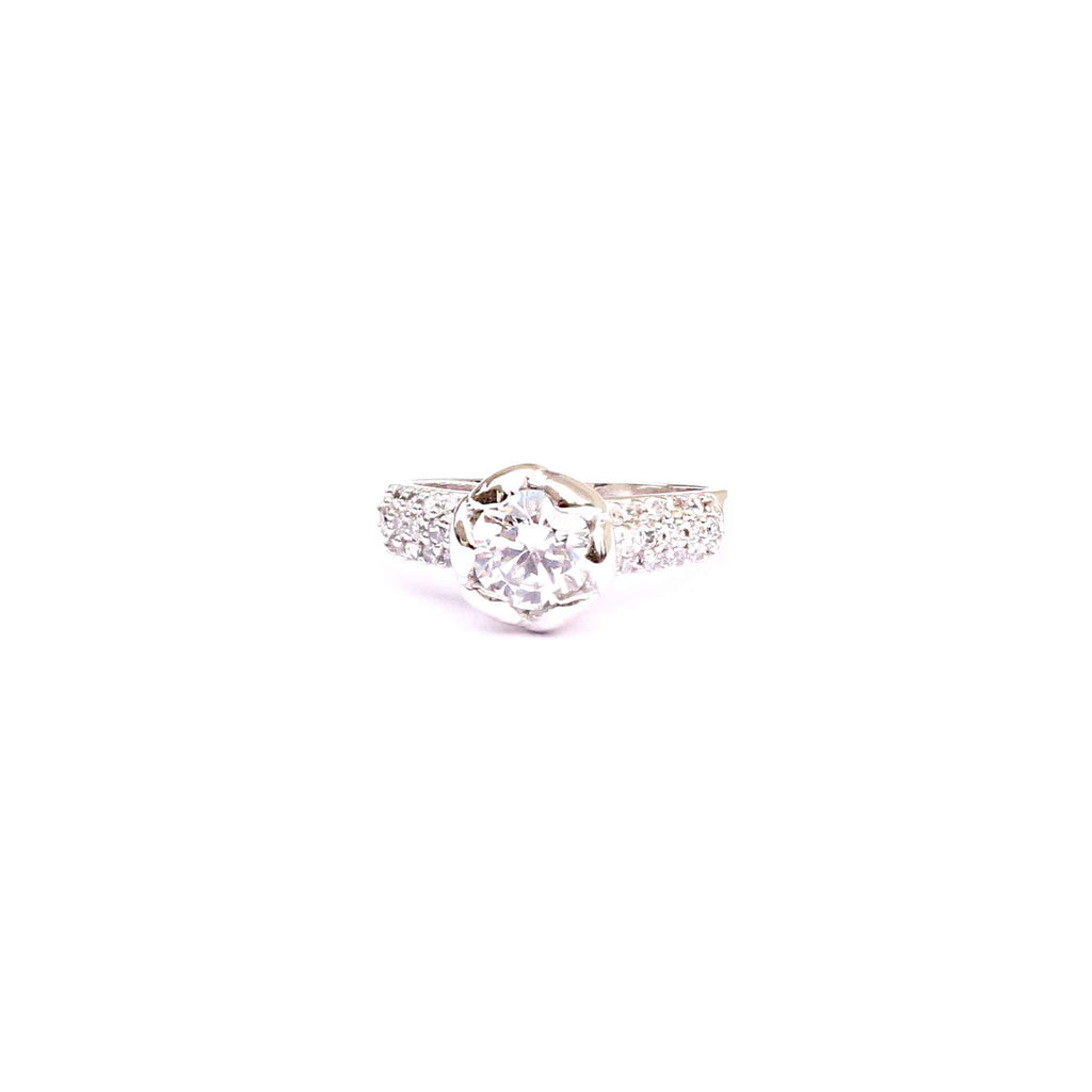 Elegant Rose Zirconia Solitaire 92.5 Silver Ring - Boldiful