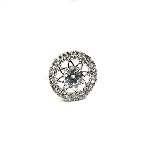 Round border with small zircon stones and medium size zircon stone in the center with the flower frame is made in 92.5 silver.