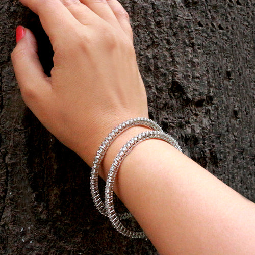 Sleek Zirconia Pop Sterling Silver Bangles