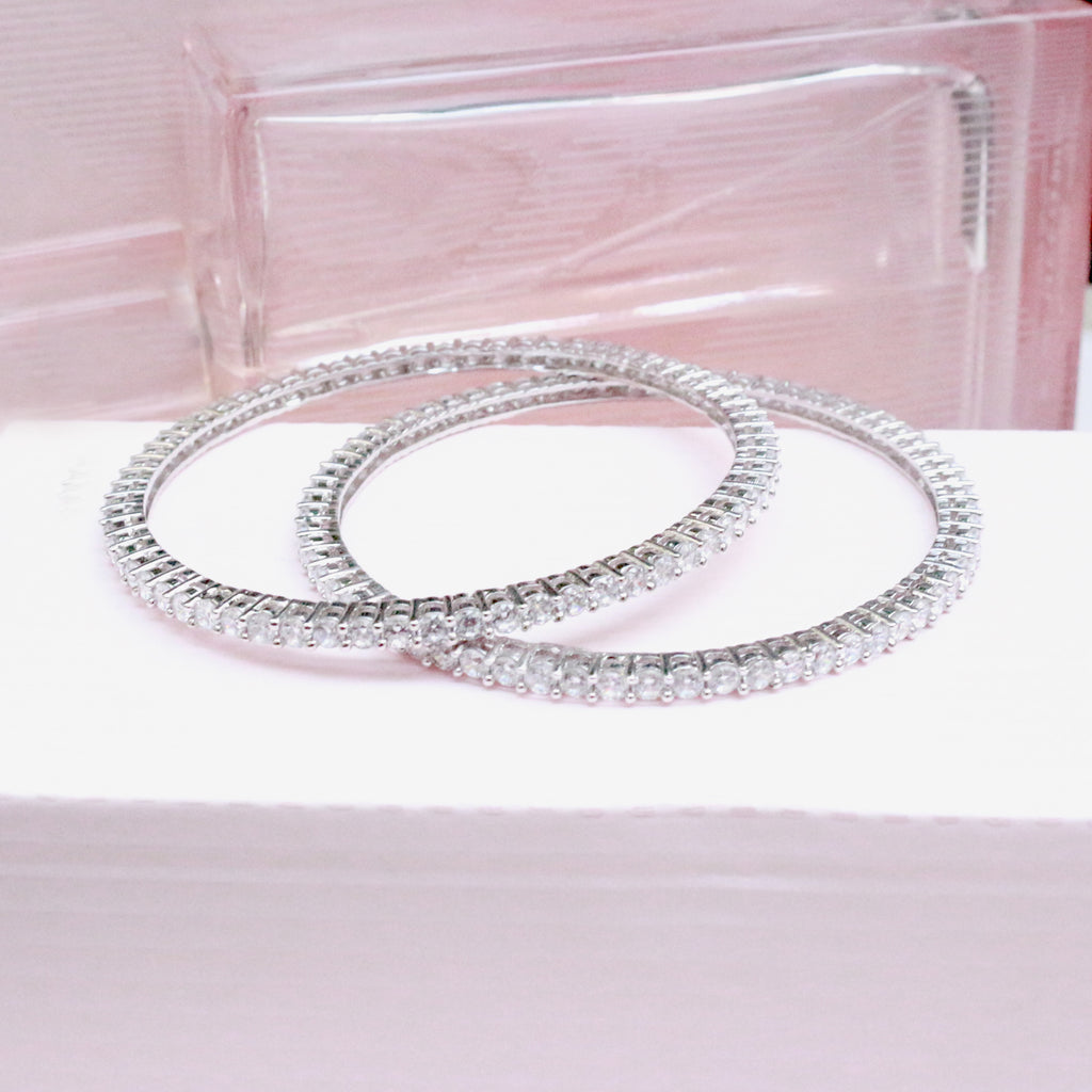 Sleek Zirconia Pop Sterling Silver Bangles - Boldiful