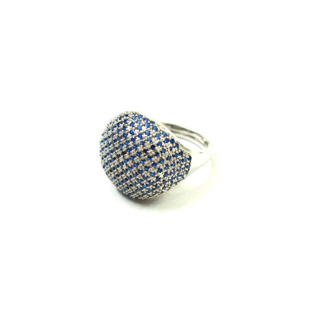 Spherical Pomp Sterling Silver Rings with Stones are impeccably handcrafted with vivid cubic zirconia gemstones