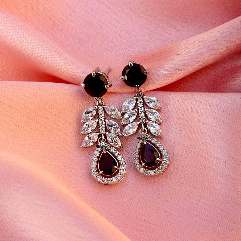 Spiffy Sterling Silver Garnet Earrings - Boldiful