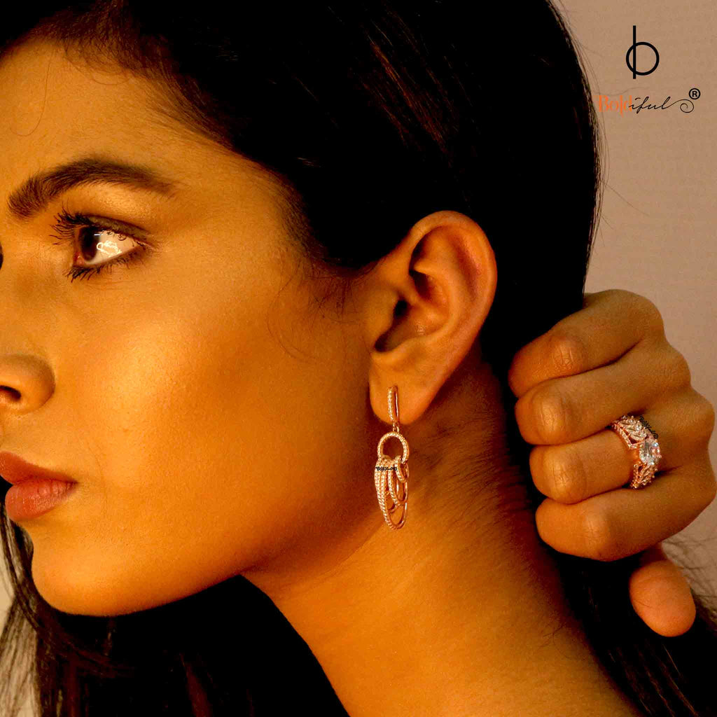 Spunky Rose Gold Multiple Hoop Earrings - Boldiful