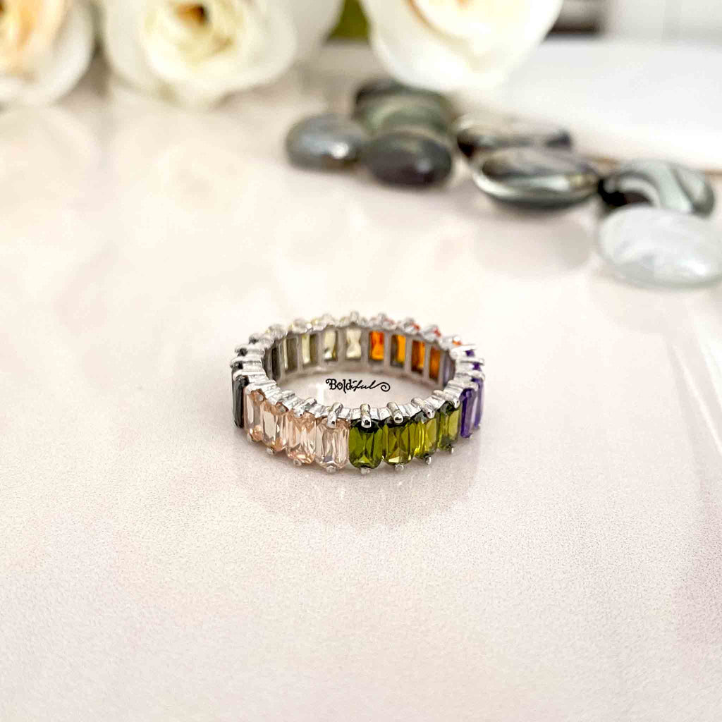 Sunlit Silver Eternity Ring - Boldiful