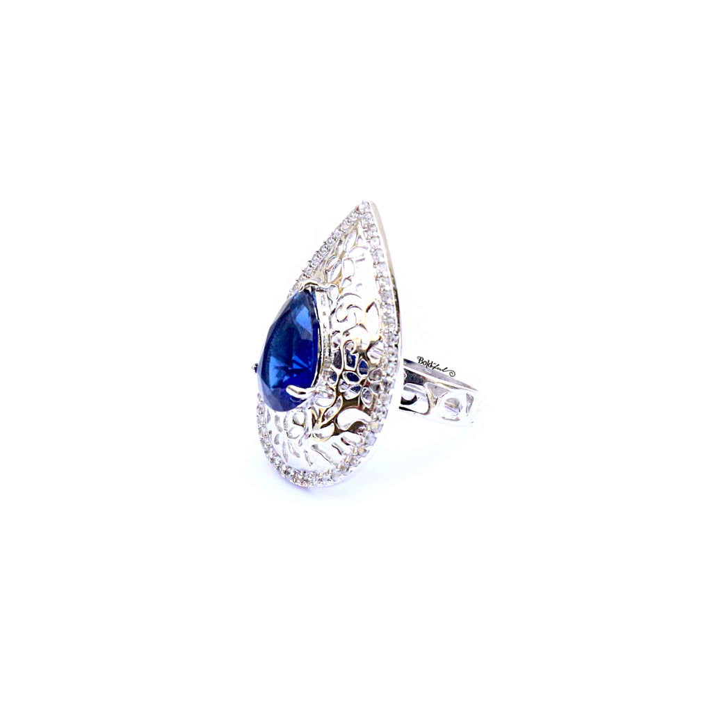 Swish Silver Pear Shaped Ring - Boldiful