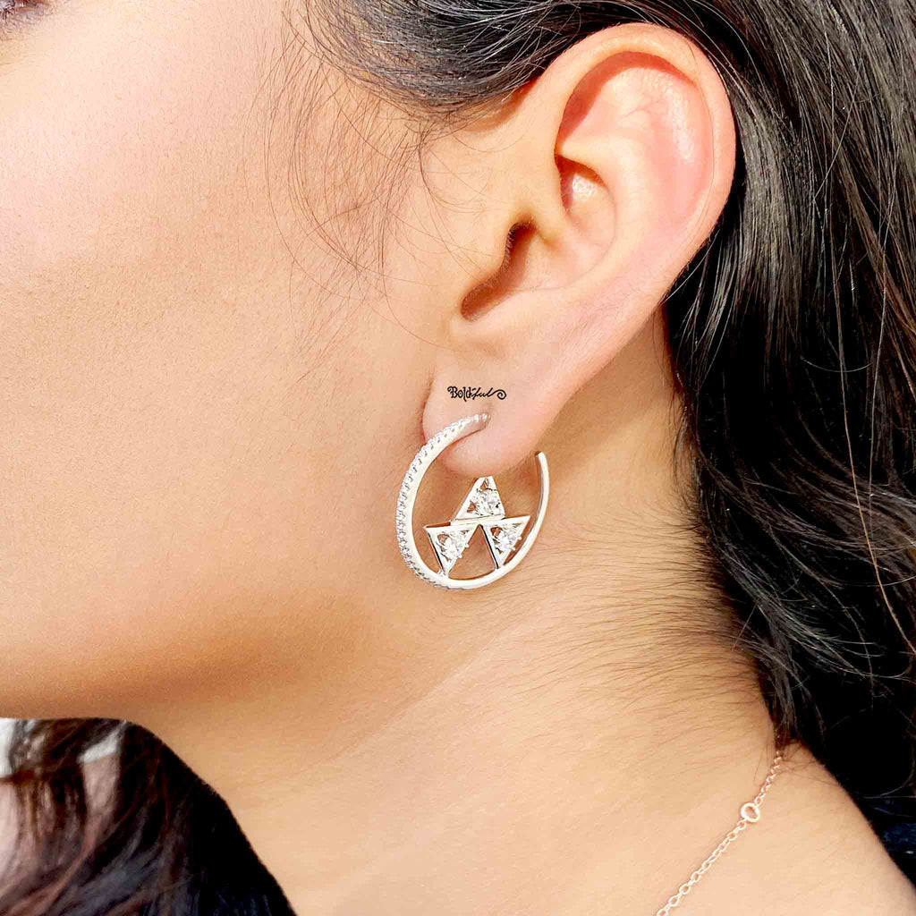 Trendy Sterling Silver Hoops