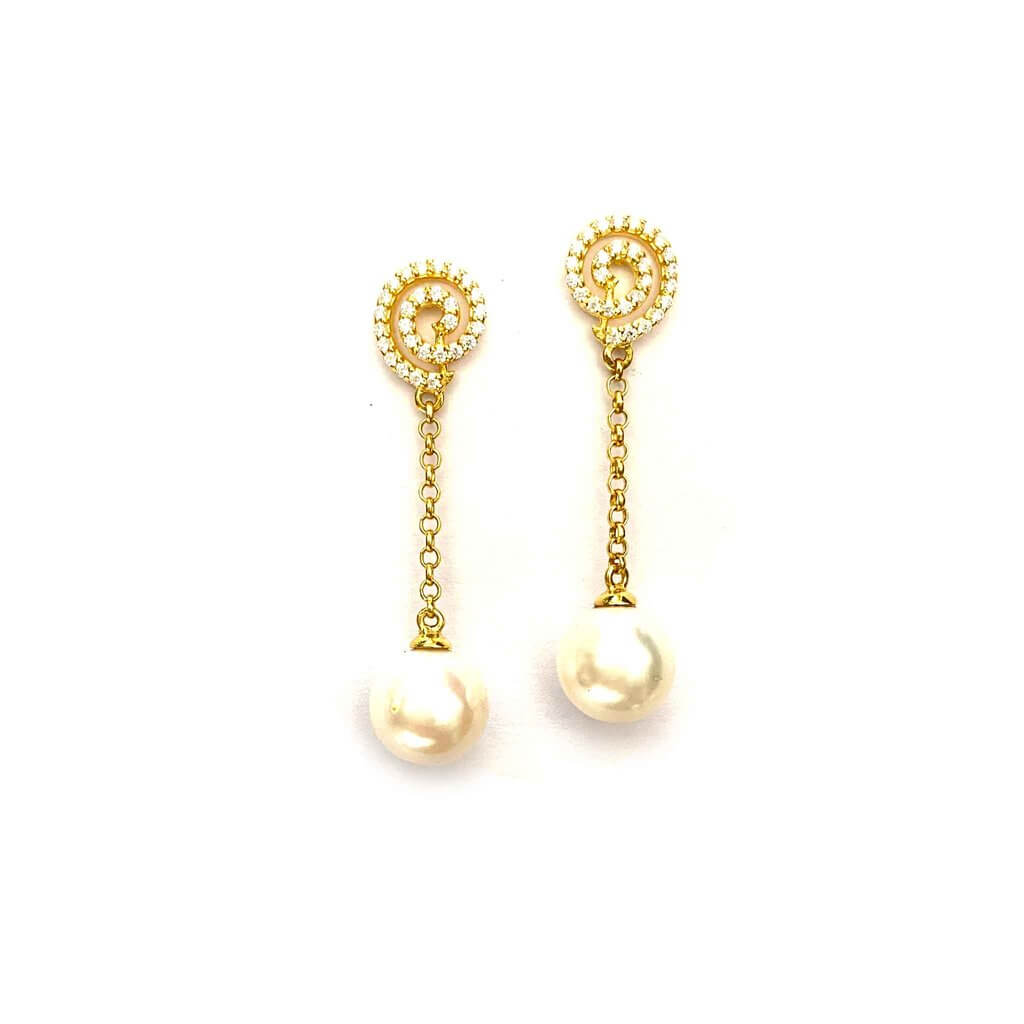 Twirly Pearl Drop Earrings