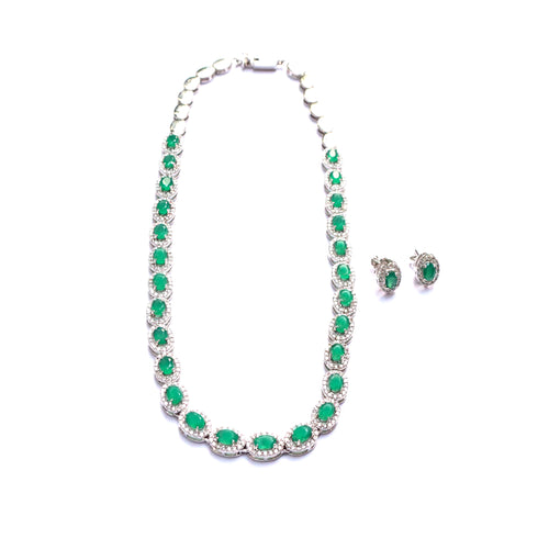Upbeat Green Onyx Sterling Silver Necklace Set