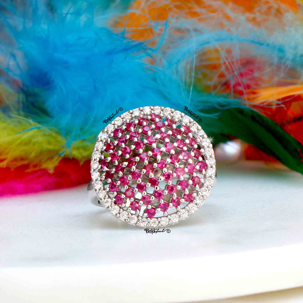 Vault Ruby Pink Cocktail Ring - Boldiful