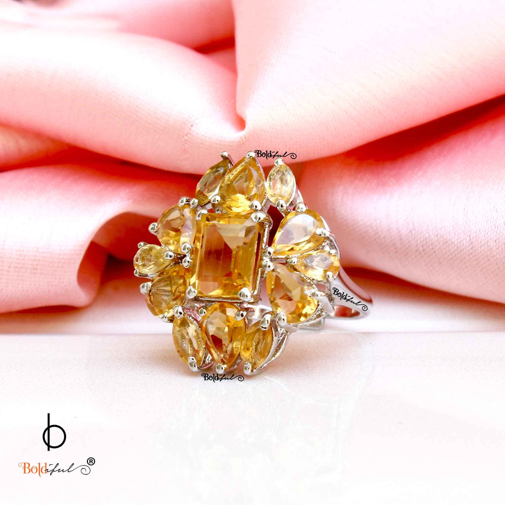 Yellow Citrine Sterling Silver Cocktail Ring - Boldiful