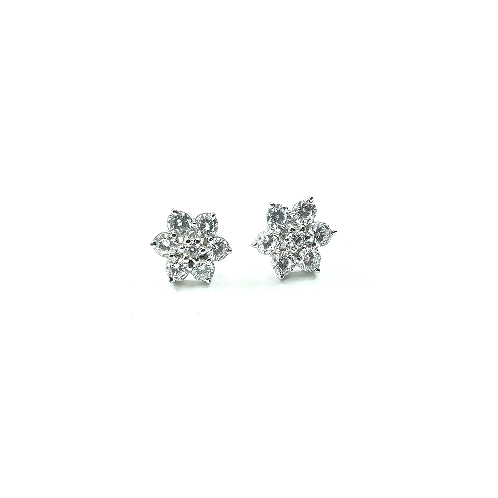 Simple flower shape zircon ear studs are made in 92.5 silver. Perfect for formal and casual look.