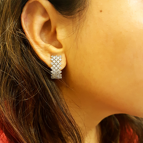 Zircon studded half hoop earrings with 3 line of Small zircon stones in 92.5 silver. Perfect for formal and casual look.