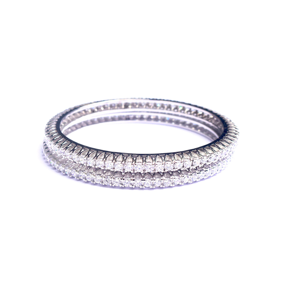 Zirconia Pop Sterling Silver Bangles - Boldiful