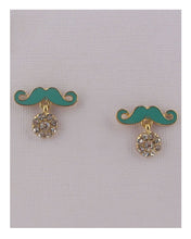 Mustache earrings w/rhinestones