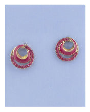 Overlap circle earrings w/rhinestone