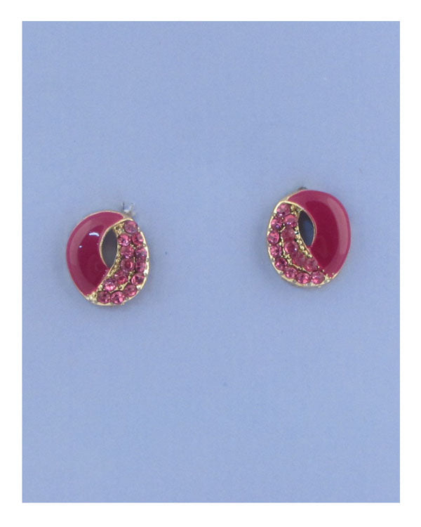 Round earrings w/rhinestone