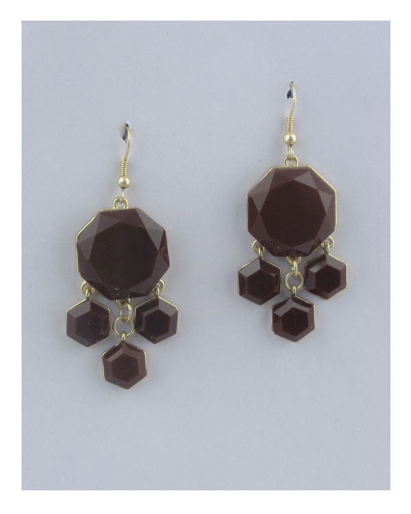 Drop hexagon earrings
