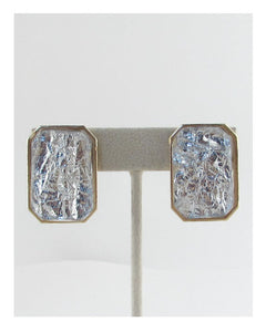 Faux stone rectangle earrings