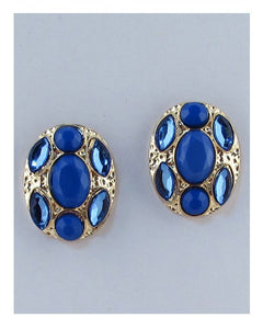 Oval faux stone earrings