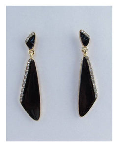 Clear rhinestone black & white drop earrings