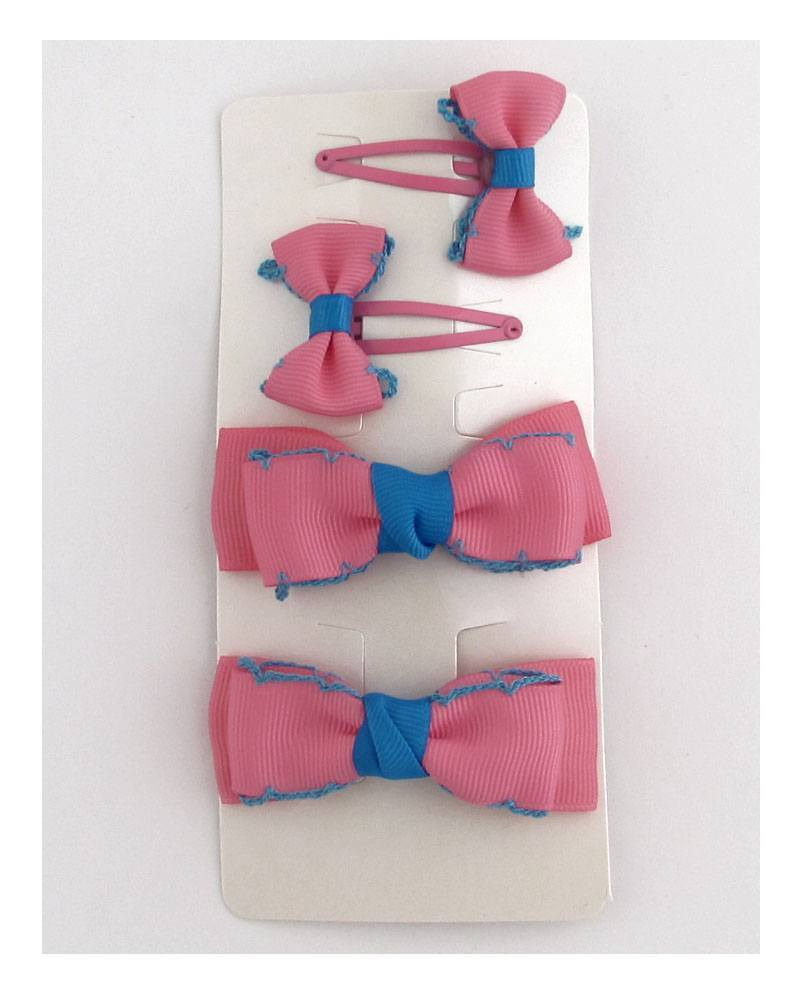Set of four bow hair clips