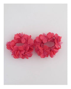 Bright color flower hair scrunchie