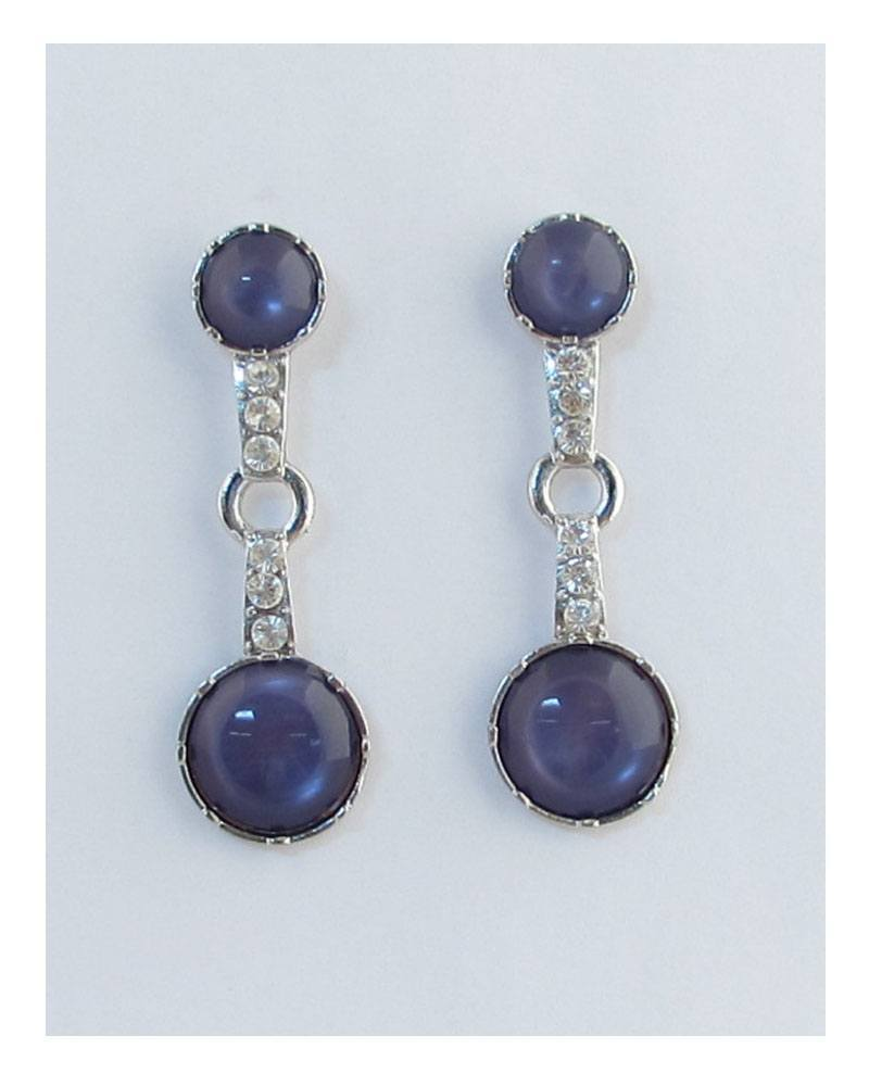 Double faux stone drop earrings