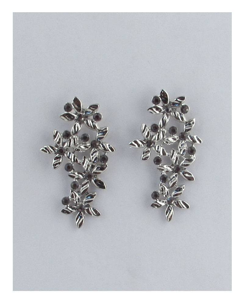 Long floral earring studs w/color rhinestones