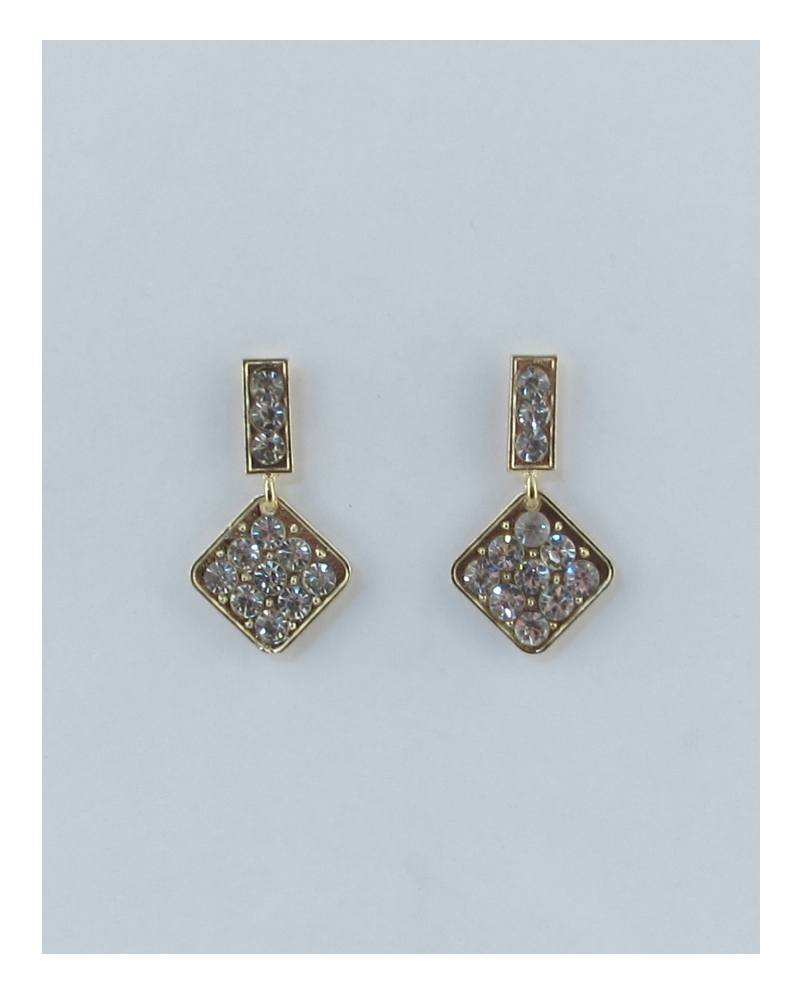 Rhinestone rhombus drop dangle earrings