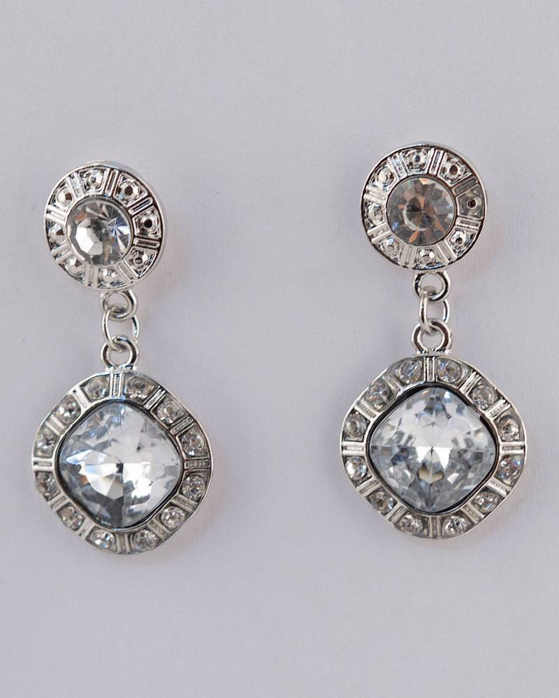 Faux Rhinestone Drop Earrings