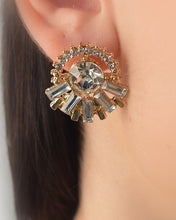 Clear Stone Studded Round Earrings with Glassy Effect