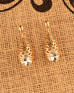 Carved Teardrop Earring with Teardrop Rhinestone Accent