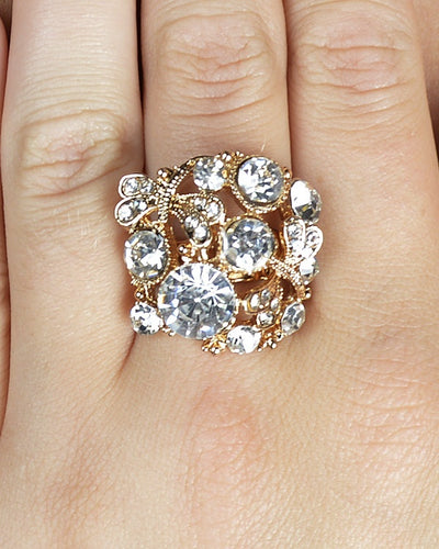 Crystal Studded Fashion Ring