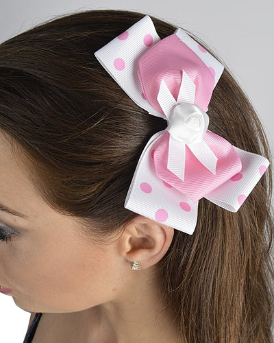 Double Hued Polka Dotted Bow Clip