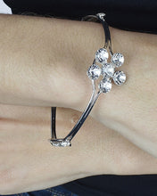 Floral Patterned Rhinestone Studded Double Layered Bracelet