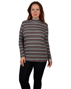 High Neck Collar Striped Woolen Top