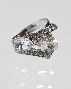 Crystal and Rhinestone Studded Adjustable Metallic Ring