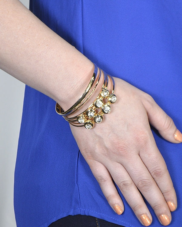 Combination Plain and Crystal Studded Metallic Bracelets
