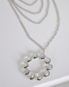 Multiple Layered Necklace with Crystal Studded Pendant