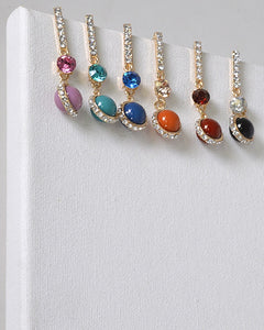 Rhinestone and Crystal Studded Drop Earrings