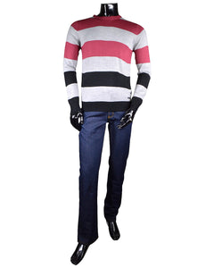 Crew Neck Sweater with Stripe Pattern